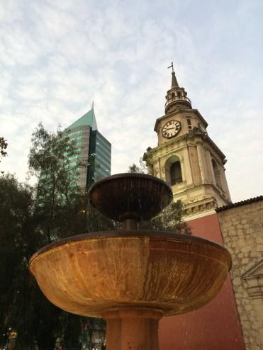 Dusk in Santiago's city centre