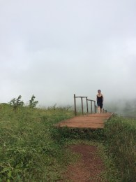 Jules climbs to the top of 'Volcan El Junco' in San Cristobal