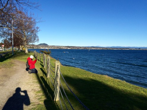 Verne snaps a picture of Lake Taupo...