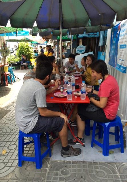 Enjoying street food in Bangkok