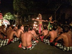 In the Kecak musical drama, the Rama and Rahwana roles are usually played by women