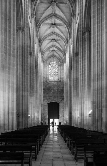 Nave and choir at Batalha Monastery, Batalha, Portugal