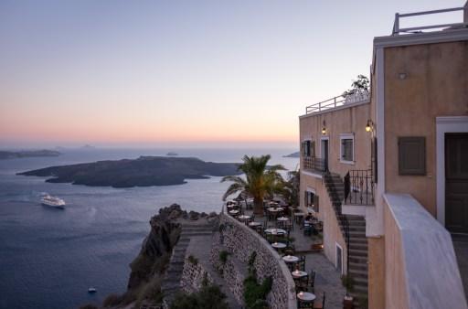 Twilight in Fira, Santorini (16mm, 1/150s, f1.4, ISO 200)