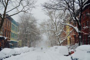 Snow encrusted street