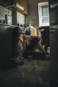 woman on kitchen floor
