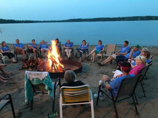 Campfire at lake