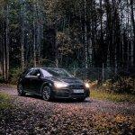 Car on dark dirt road