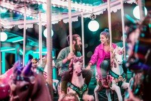 Couple on merry-go-round