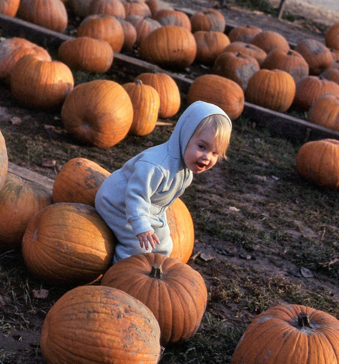 Kristy in a pumpkin patch