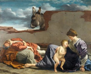 Holy Family with Mary nursing and Joseph sleeping