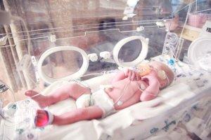 Baby in isolette incubator
