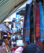 Scarves Hang For Sale in the Night Market of Siam Reap