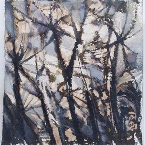 Lambent, 2020, Ink and bleach on khadi paper, 19 x 19cm approx | Julia Brown