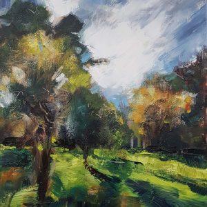 Summer Orchard Study, 2020, oil on board, 45 x 31.5cm   Julia Brown