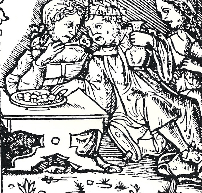 Woodcut from Maccaronee, by Merlin Cocai, 1521. Revelers eating gnocchi. From Pasta Classica: The Art of Italian Pasta Cooking, by Julia della Croce (Chronicle Books, 1986)
