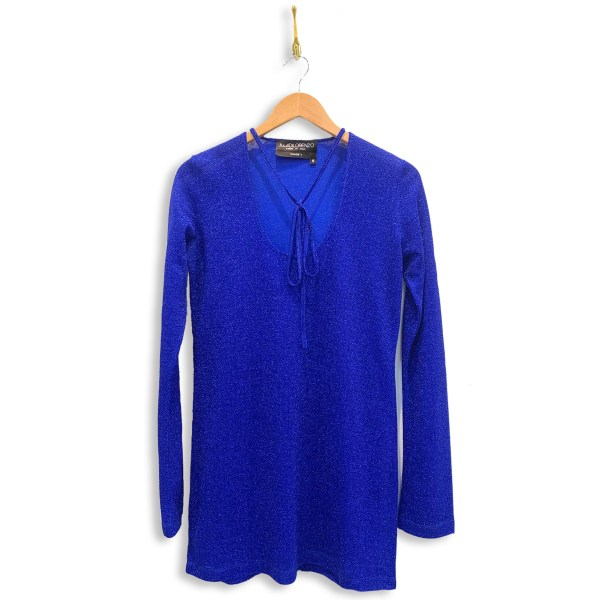 Metallic shirt with necktie and long-sleeves in metallic sonic blue. Necktie is in a bow across the low u-shaped neckline.