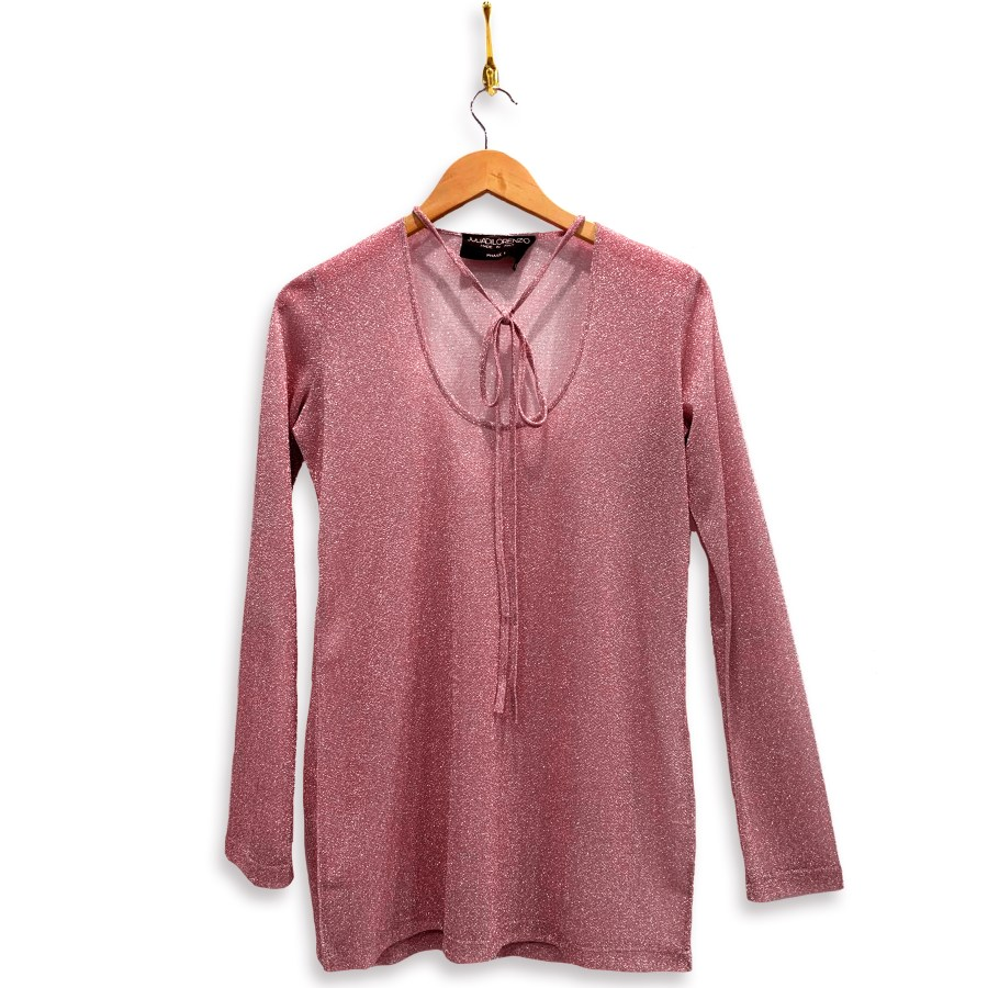 Metallic shirt with necktie and long-sleeves in metallic pink. Necktie is in a bow across the low u-shaped neckline.