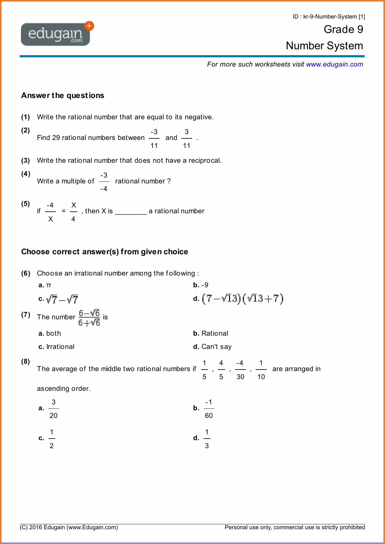 Real Numbers Worksheet 8th Grade