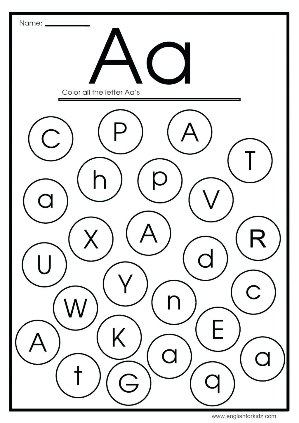 Letter A Sounds Worksheets