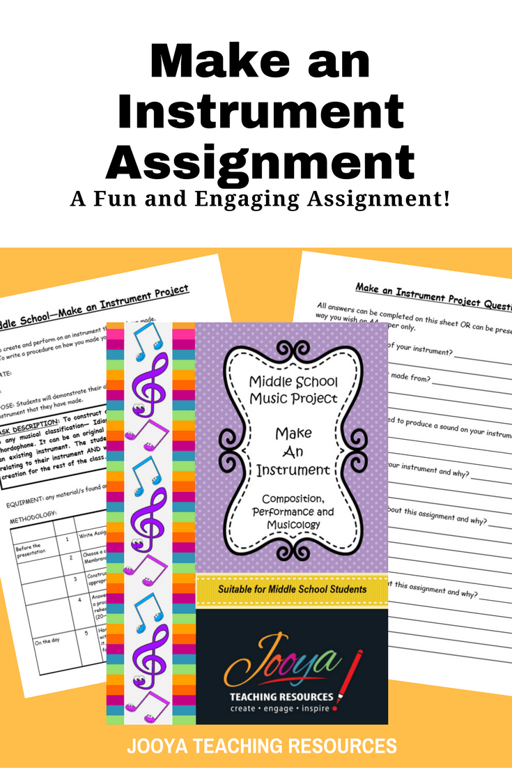 Make and Instrument Composition and Performance assignment by Jooya Teaching Resources. This assignment is best suited to middle school students. Assignment includes task description, marking rubrics and reflection/self-evaluation questions.