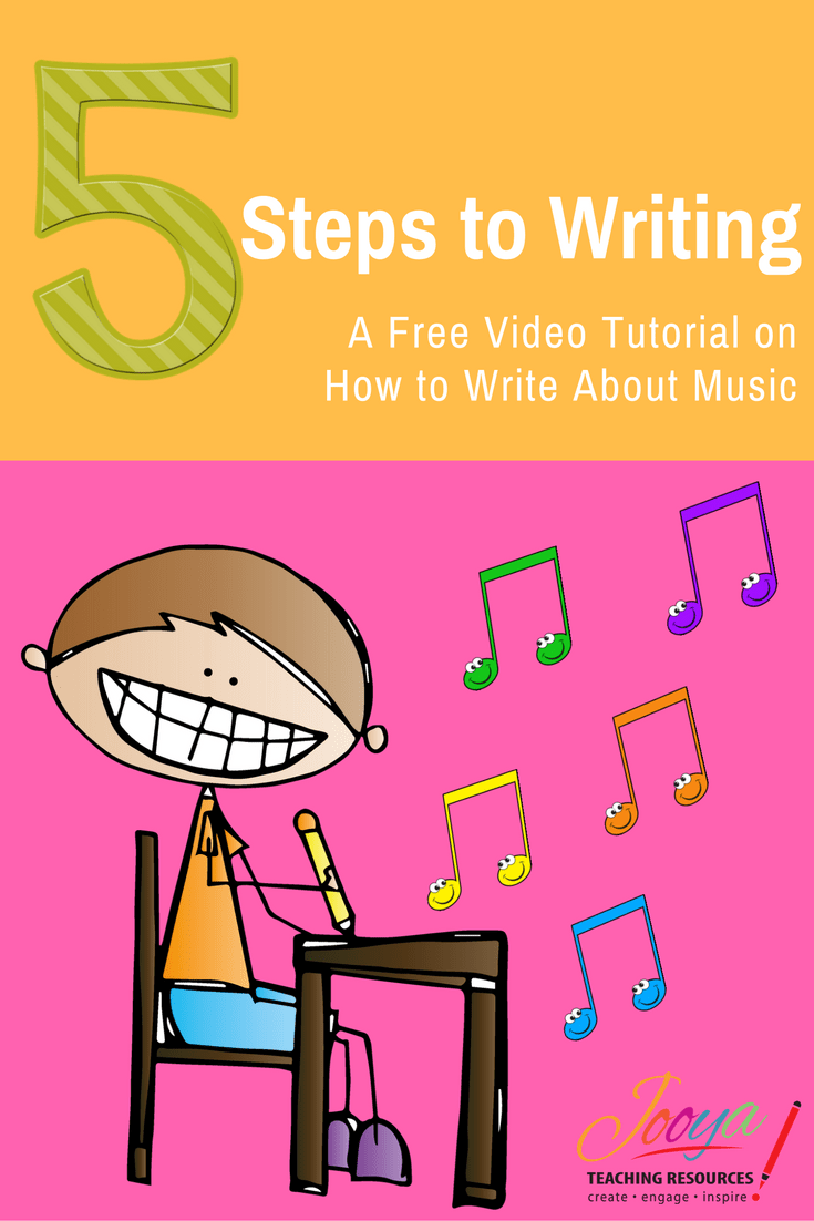 FREE 5 Steps to Writing About Music Video from Jooya Teaching Resources. This FREE video tutorial shows you my 5 Step Process for getting students to write critically and analytically about the Music that you study in class.
