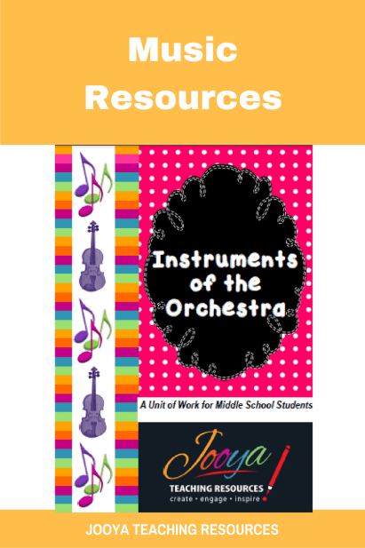 Instruments of the Orchestra Unit of Work for Middle School Music students from Jooya Teaching Resources. Includes the Super Six reading strategies, listening tasks, assignment and more. You just have to print and teach – all the planning done for you.