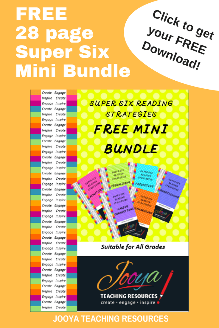 FREE Super Six Mini Bundle from Jooya Teaching Resources. The free 28 page download includes all of my favourite Super Six strategies.