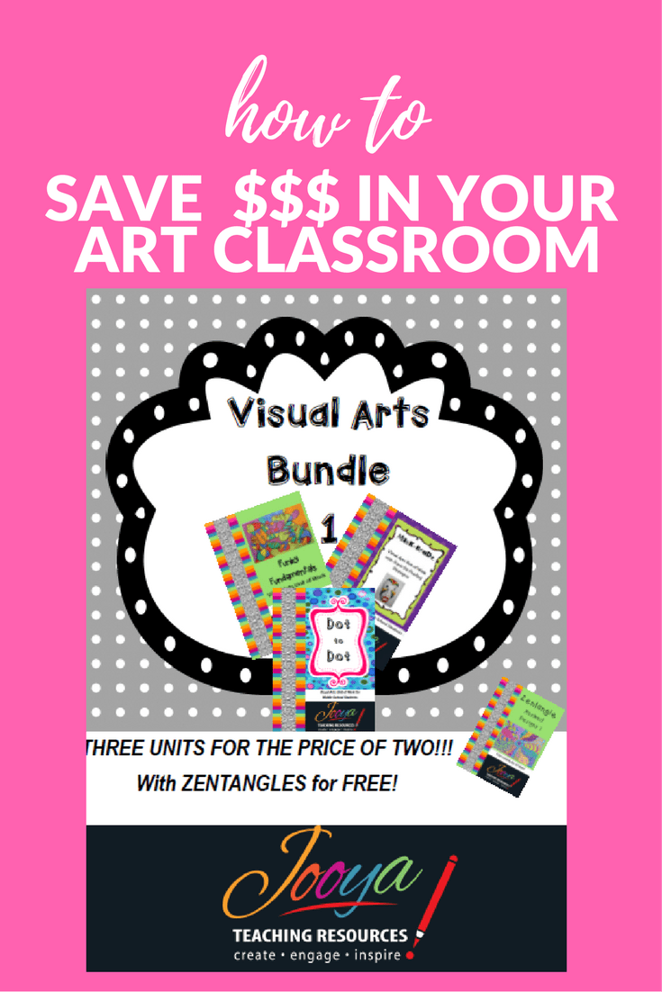 Three Visual Arts Units in One Bundle by Jooya Teaching resources. Save yourself some time and $$$ with these value packed Visual Arts Bundles. Enough Art resources to cover a whole year's worth of lessons. Includes 3 units of work and assignments, as well as a bonus, all are just perfect for the Middle School classroom.