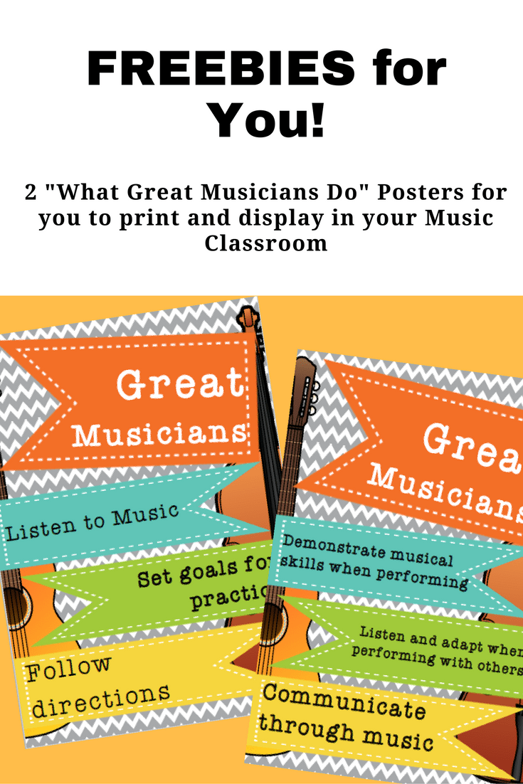 "2 FREE printable ""What Great Musicians Do"" posters by Jooya Teaching Resources. These are perfect for the young musician to help them remember the qualities of a great music student and musician."