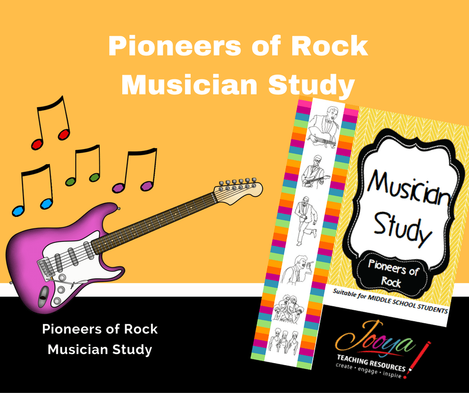 Pioneers of Rock Musician Study by Jooya Teaching Resources. Engage your students in learning when using this resource that develops research skills while learning about the musicians that started Rock Music.