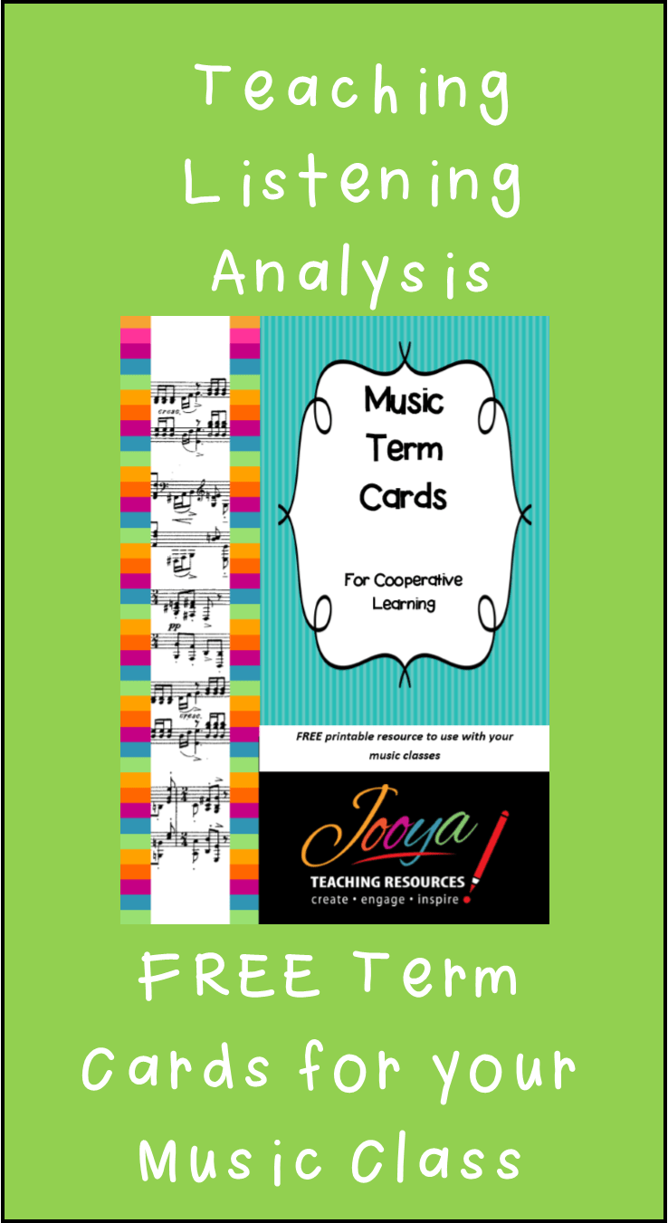 FREE Music term cards from Jooya Teaching Resources. Help your students learn musical terms with this FREE download. Print cards, cut and use! Great for cooperative learning and increasing engagement in the classroom.
