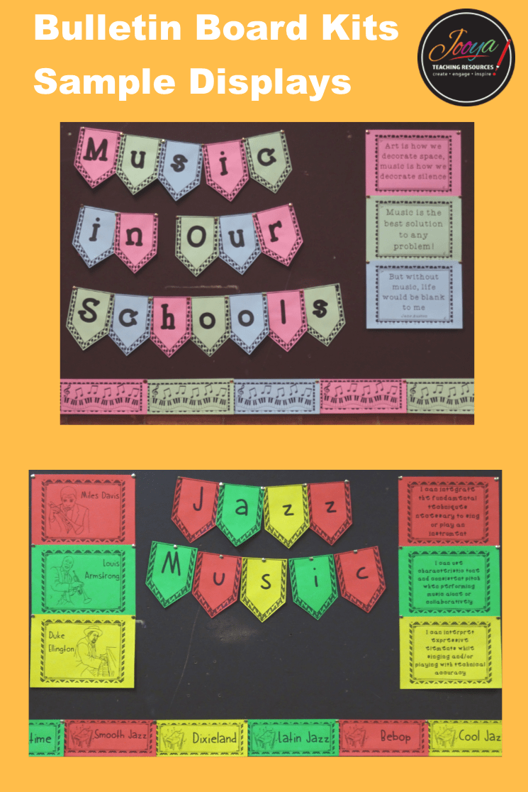 Music Class Bulletin Board Kits by Jooya Teaching Resources. Save yourself hours and $$$ with this value packed kit. It contains 12 Different kits, with alphabet bunting, borders, large and small format instruments/chords/diagrams and I can statements. You can mix and match throughout the year and it will always look great. Print onto colored paper to match your classroom décor OR have your students color each part and proudly display.