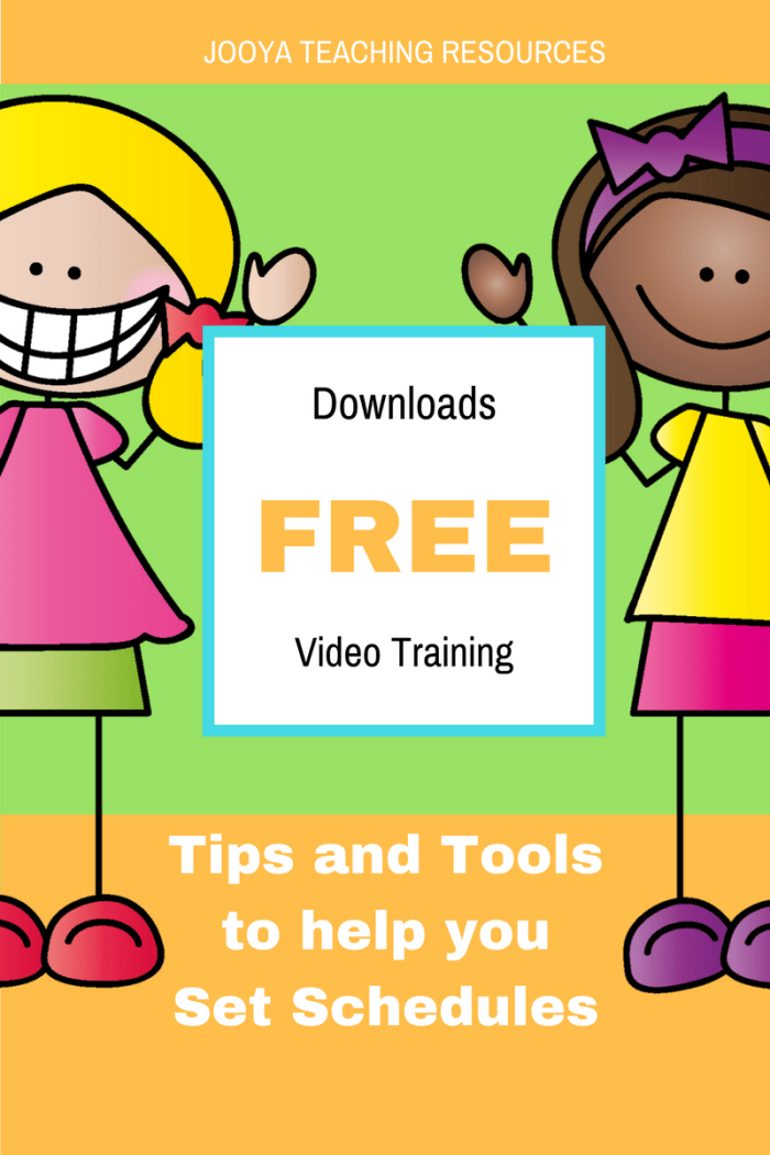 Proven tips, tools and templates for Setting Schedules Blog Post by Jooya Teaching Resources. Post includes tips, techniques, templates and link to a FREE course!