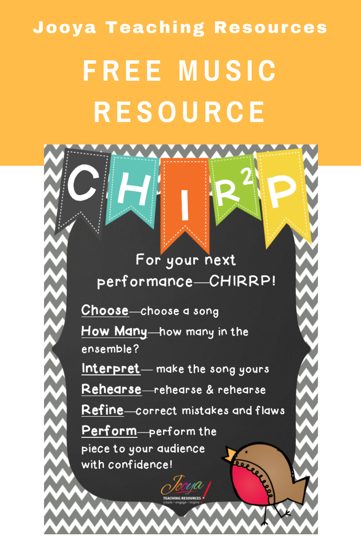Blog post from Jooya Teaching Resources to help students perform better, includes a free poster to display in your music classroom.