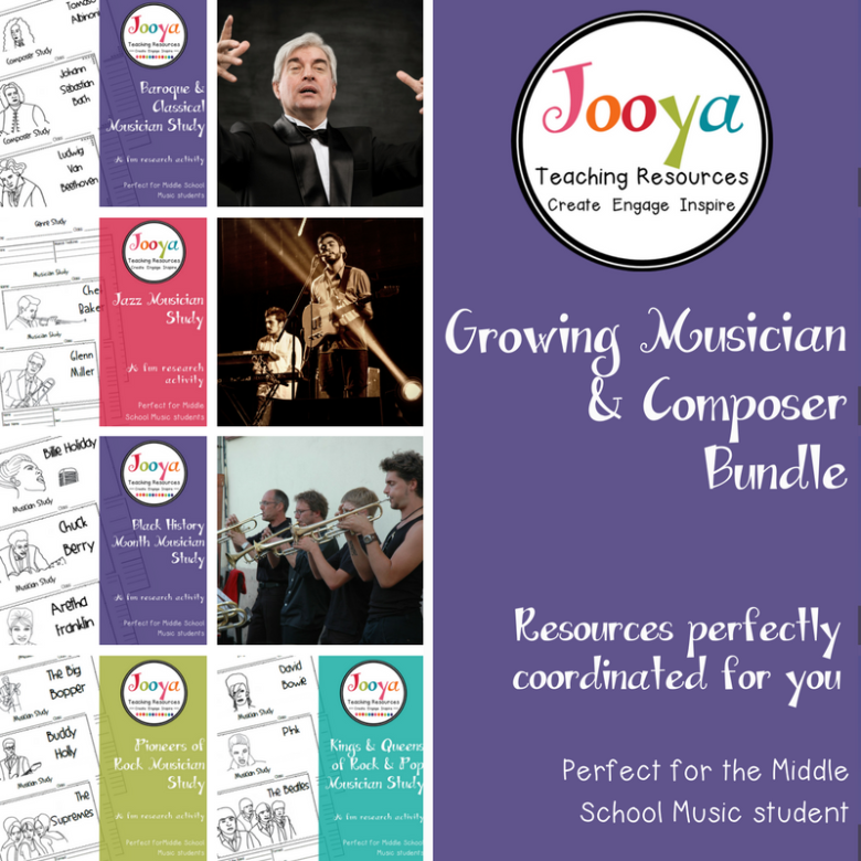 Musician and Composer Research Bundle from Jooya Teaching Resources