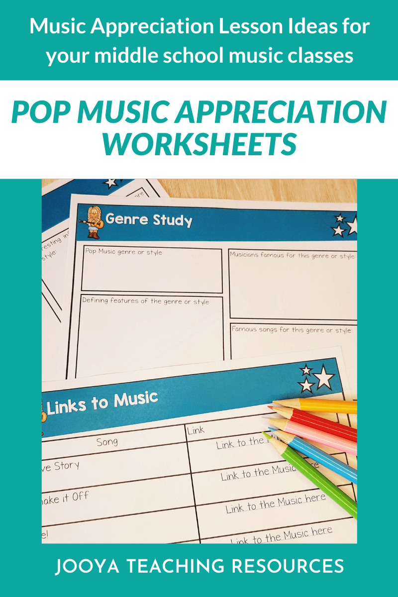 Check out these tips on how to teach music appreciation to your middle school music class using these Pop singer music appreciation worksheets and activities. Included in the resource are a printable version and a digital google slides version to use with distance learning. #JooyaTeachingResources