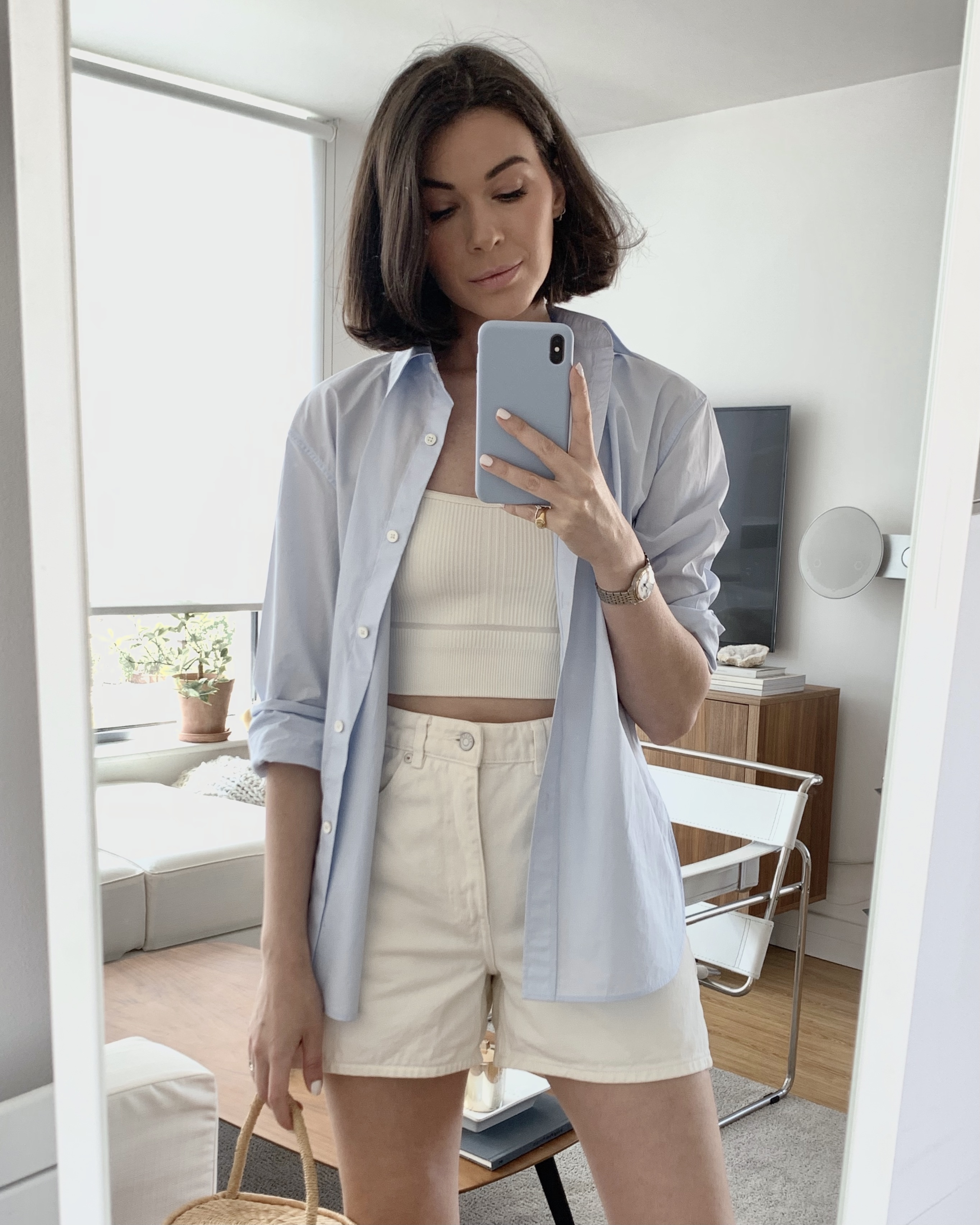 how to style a blue shirt