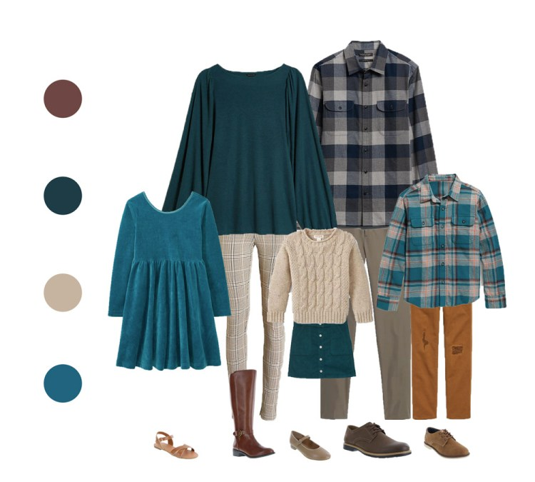 outfit guide for family session - water earth tones