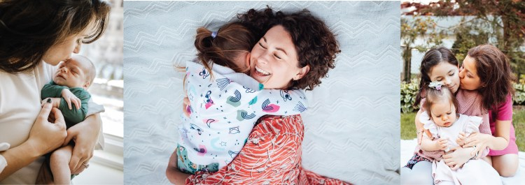 a compilation of pictures of moms embracing her kids.