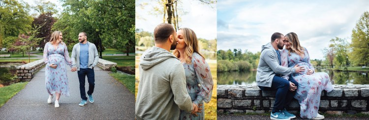 maternity photos  of parents to be taken in NJ park.