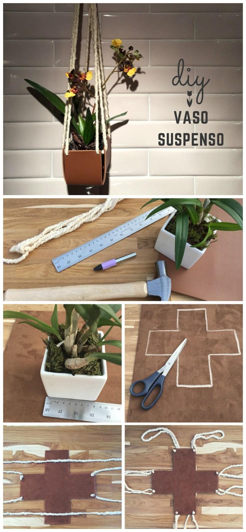 DIY - Vaso de Couro: Mais um post da série de DIY em couro. Neste você irá aprender a fazer um vaso suspenso com couro e fio de lã crú. Passo a passo simples e fácil.