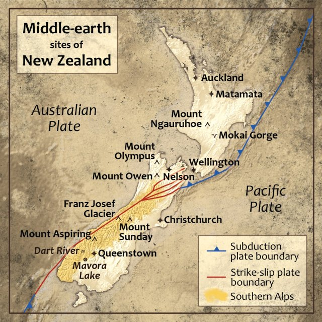 New Zealand. Filming Locations Map. Middle Earth.