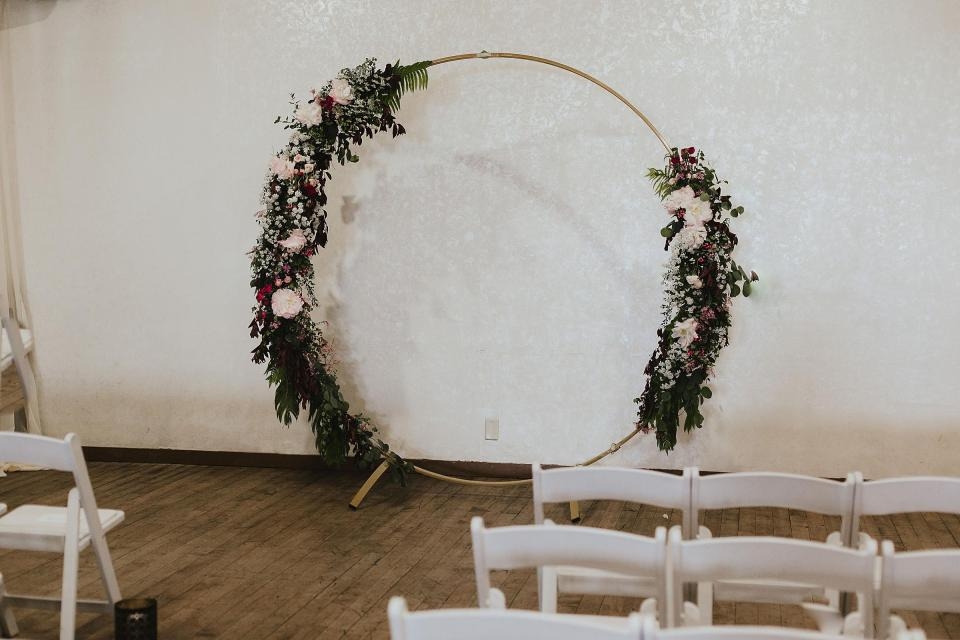 Omaha Wedding; Ceremony Details at Vintage Ballroom in the Old Market; Florals by One & Only; Photographed by Juliana Montane Photography