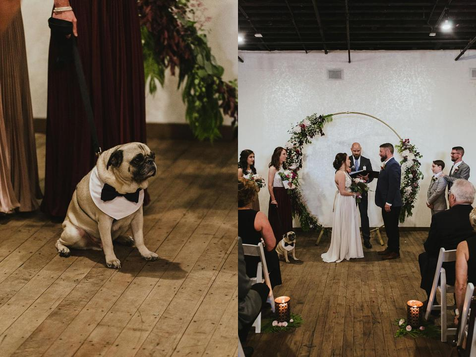 Omaha Wedding; Ceremony at Vintage Ballroom in the Old Market; Florals by One & Only; Photographed by Juliana Montane Photography