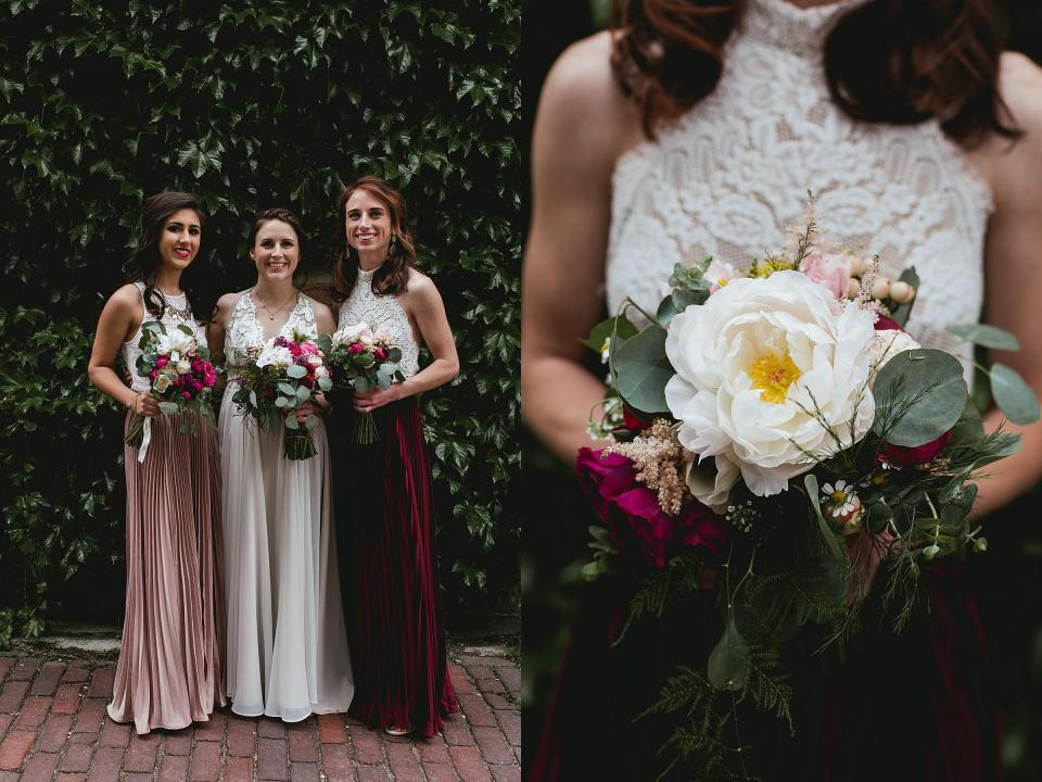 Omaha Wedding; Bridal Party in the Old Market; Florals by One & Only; Photographed by Juliana Montane Photography