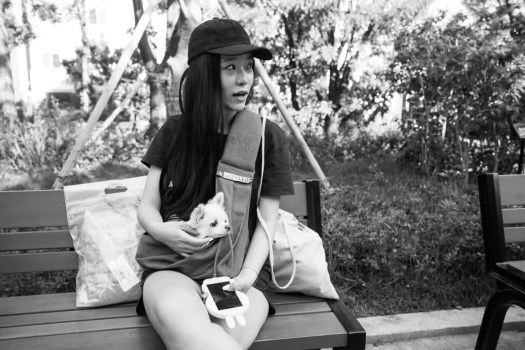 South Korean girl with dog and bunny ear phone on park bench