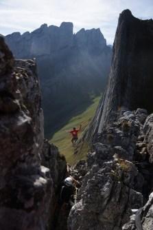 """Highline: """"Dreifaltigkeit"""" Länge: 70m Ort: Appenzell Land. Schweiz"""
