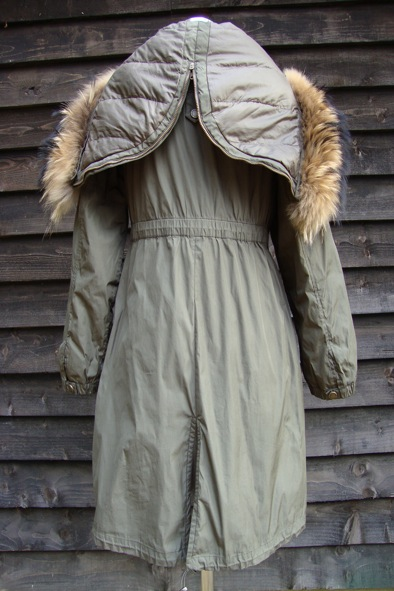 Max Mara Weekend khaki parka with fur trim hood