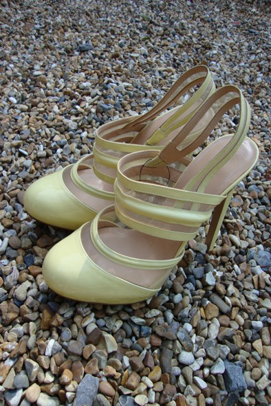 Versus yellow patent leather sling-backs