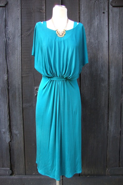 Issa emerald green silk jersey dress